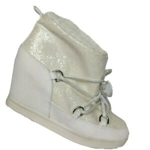 Juicy Couture White Glitter Lace Up Wedge Sport Ankle Boot Shoes Size 6 M