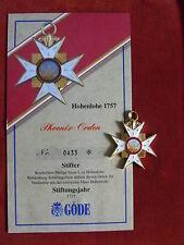 GÖDE Orden Hohenlohe 1757 - Phoenix Orden + Zertifikat Nr.0433