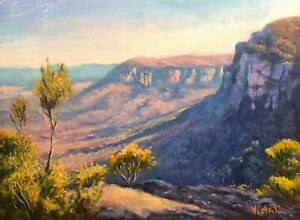 Original oil painting Boars Head Blue Mountains  Oil paint on linen by Vidal