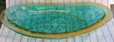 "Vintage Green Pressed Pattern Glass Relish / Candy Dish / Bowl w Gold Rim,13.5"""