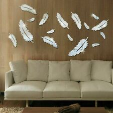 USA DIY 3D Mirror Feather Wall Sticker Flower Acrylic Art Decal Removable Home