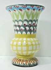 """MacKenzie Childs Pottery Wide Mouth Vase M-C 1983 Vintage Stamp 7"""" Tall"""