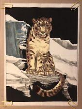 Snow Leopard Velvet Silk Screen Portrait Original Vintage 1970's Animal Pin-up