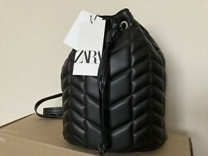 zara QUILTED BUCKET BAG Reversible Into BACKPACK new with tags