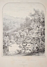 ALSACE Fontaine Dufrenet FORET HERRENSTEIN Lithographie Hastrel SORRIEU 1853