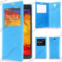 Housse etui coque plastique View Case Samsung Galaxy Note 3 Neo N7505 7502 Bleu