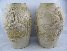 Paar Jugenstil Vasen Enten im Schilf ~ 1900 - 711 - 2x Vase Steingut / Ton