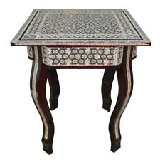 "Handcrafted 16"" Square Egyptian Mother of Pearl Inlaid Side Coffee Table"