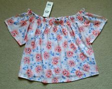 **MISS SELFRIDGE**Size 8 Bardot Top**Pretty Pink Floral**New with Tags**