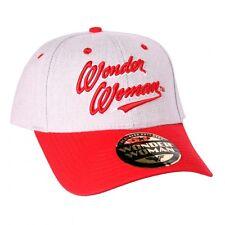 OFFICIAL DC COMICS - WONDER WOMAN TEXT GREY AND RED STRAPBACK BASEBALL CAP (NEW)