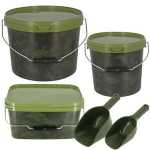 BAITING SPOON CAMO BAIT BUCKETS DEAL FOR BOILIES PELLETS CARP FISHING TACKLE