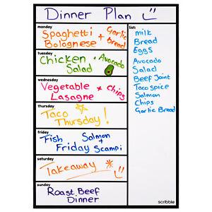 Magnetic Whiteboard, Refrigerator Calendar, Weekly Meal Planner