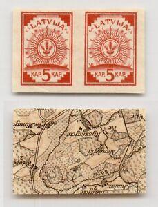 Latvia 1918 SC 1 MNH pair map. g1869
