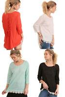 UMGEE Womens Chic Back Drawstring Crochet 3/4 Sleeve Top Blouse S M L