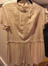 EYESHADOW Romantic BLOUSE Shirt IVORY Cream LACE Crochet XL 16 Victorian NWT Top
