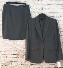 Style & Co skirt suit womens 12 gray boys club new career 2pc one button