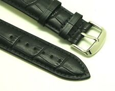 22mm Black Alligator Grain Leather Replacement Watch Band -  Fossil Traveler 22
