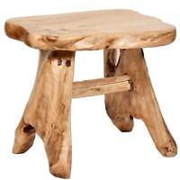 "Cedar Chair Stool - Natural  21"" Wooden Patio Seat - WELLAND"