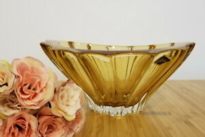 """Crystal Glass Bowl Vase 8 """" Centerpiece Dish Amber Color Bohemian Crystal NEW"""