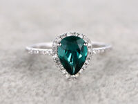 1.55 Ct Pear Emerald Diamond Engagement Wedding Ring 14K White Gold 5 6 7