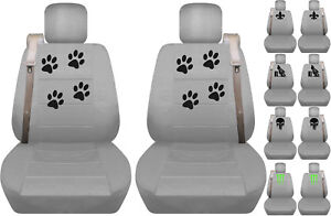 Fits Chevy trailblazer /GMC envoy front car seat cover silver w/fleur/skull...