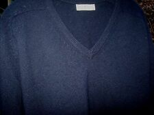 Alan Paine 100% Pure Lambswool Navy V-Neck Sweater Men's 38 (S-M) England