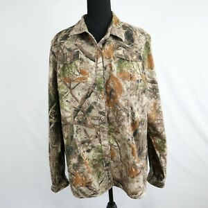 Cabela's Women's Camouflage Long Sleeve Button Up Collared Hunting Shirt Sz 2XL