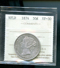 1874 Newfoundland Silver 50 cents ICCS Certified VF30 MP467