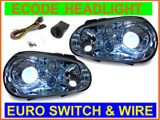 EURO SWITCH WIRE+DEPO 99-04 VW GOLF 4 GTI XENON HID GLASS ECODE CHROME HEADLIGHT