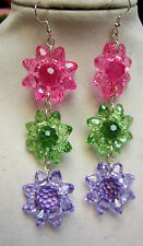"UNIQUE BIG 4"" SPRING 925 EARRING PINK GREEN PURPLE FLOWERS GIFT nora winn"