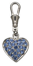 Blue Crystal Pave Heart Pet Dog Collar Charms, Key Rings, Jewellery, Gift - 21mm