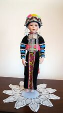 OOAK Porcelain Thai Hmong Hill Tribe Standing Doll of Northern Thailand (New)  A