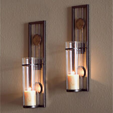 Glass Metal Wall Mounted Sconces 2 Pillar Candle Holders Iron Candles Sconce Set