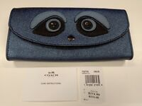 * Coach Ace Bear 2 Slim Envelope Wallet Metallic Navy Limited Edition F22725