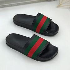 Red & Green Stripe Celebrity Style Black Sliders Fashion Ladies Flip Flop