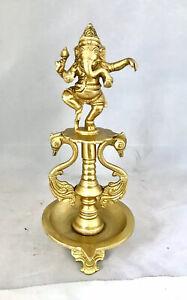 Dancing Ganesh Diya Brass Oil Lamp Wick Diva Pooja Burner Temple Candle Stand
