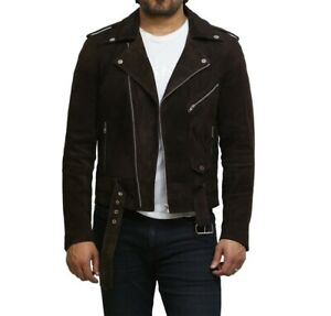 Tailor Made Men's Genuine Suede Leather Cross Zip Belted Motorcycle Jackets