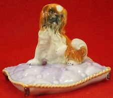 Antique Majolica Figural Spaniel Dog Sitting on Tassled Pillow Very Sweet!