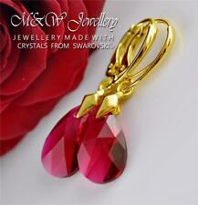 GOLD PLATED SILVER EARRINGS CRYSTALS FROM SWAROVSKI® 16MM PEAR/ALMOND SCARLET