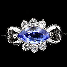 GENUINE 8x4mmBLUE VIOLET TANZANITE SOLITAIRE &CZ ACCENTS 14K ON 925 SILVER RING