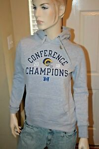 Women's NFL Los Angeles Rams 2018 Conf Champions Pullover Gray Small Hoodie NWT