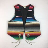 Vintage 80s 90s Country Pickins Southwestern Serape Jorongo Blanket Vest S/M