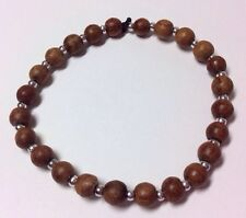 Dark Wood Bead Bracelet Stretch Elasticated Girls Womens Ethnic Hippy Wristband