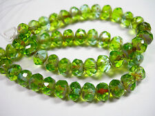 25 8x6mm Peridot and Aqua Blend Picasso Czech Fire polished Rondelle beads