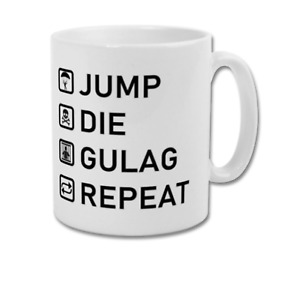 Jump Die Gulag Repeat Funny COD Warzone Coffee Mug Present Gift for Gamer Gaming