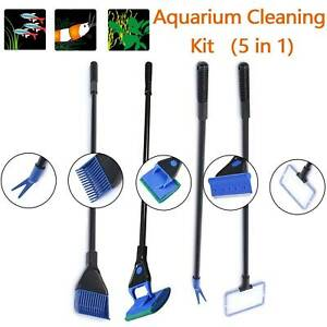 5x Aquarium Cleaning Tools Fish Tank Gravel Rake Fish Net Cleaner Magnetic Brush