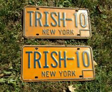 New York State Pair  matching TRISH 10  License plates 1960s 70s One of a Kind!
