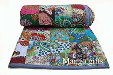 Patchwork Cotton Quilt King Size Comforter Reversible Bedspread Floral Quilts