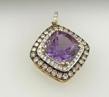 Natural Diamond & Amethyst Pendant in14k Solid Yellow Gold.