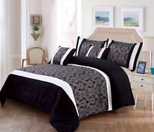 Luxurious Jacquard 3pc Quilted Bedspread / Comforter Set 2 Pillowcases UK Sizes King Black / Silver
